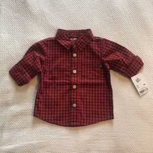 Long Sleeve Red Plaid Button Down Shirt
